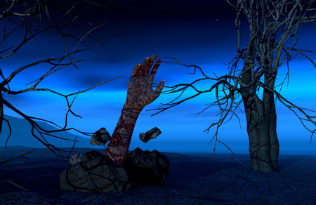 3d halloween: 3D render of a Halloween background with a zombie hand coming out of the ground Stock Photo