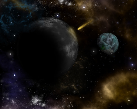 3D space background with fictional planets and shooting star