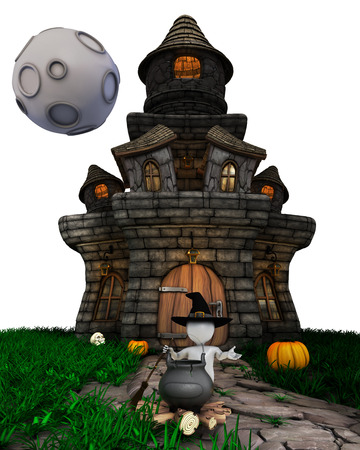 3d witch: 3D Render of Morph Man Witch with haunted house on white background Stock Photo