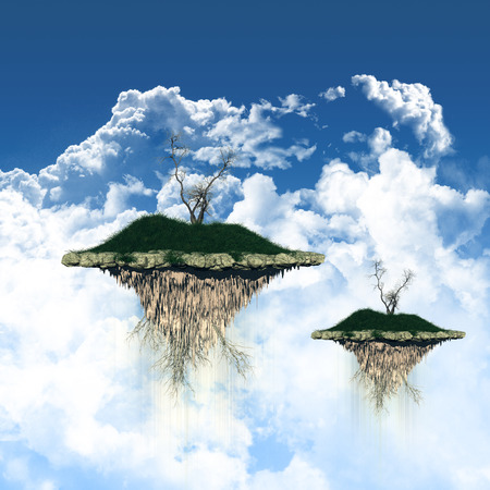 floating island: 3D render of floating islands in a blue sky with fluffy white clouds