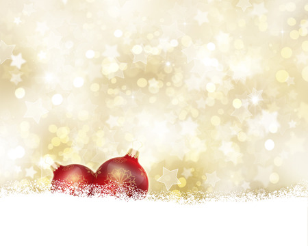 nestled: Gold Christmas background with baubles nestled in snow Stock Photo