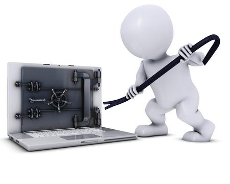 3D 렌더링의 도형 노트북에 침입하는 남자