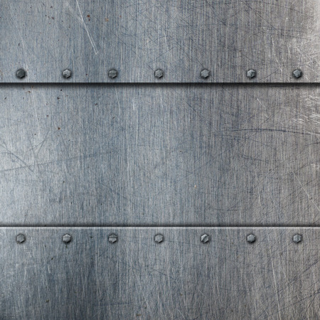 brushed metal texture: Metallic background with scratches and stains Stock Photo