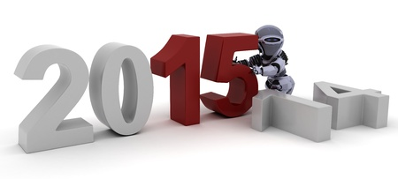 3D Render of a Robot celebrating new years photo