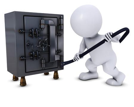 안전에 침입 모프 남자의 3D 렌더링