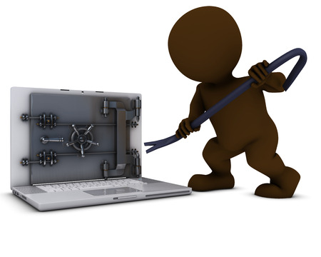 3D Render of Morph Man breaking into a laptop