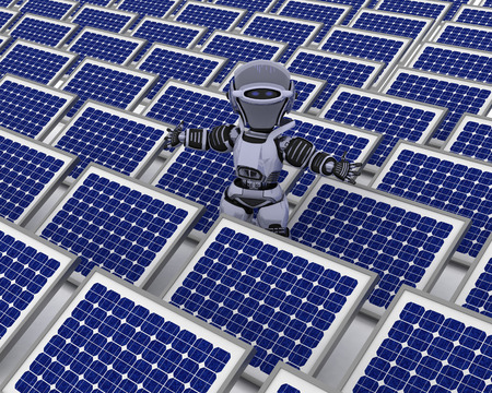 3D Render of a Robot with solar panel photo