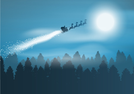 santa and sleigh: Christmas background with santa flying through the sky