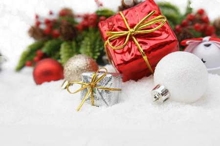 nestled: Christmas gifts nestled in snow