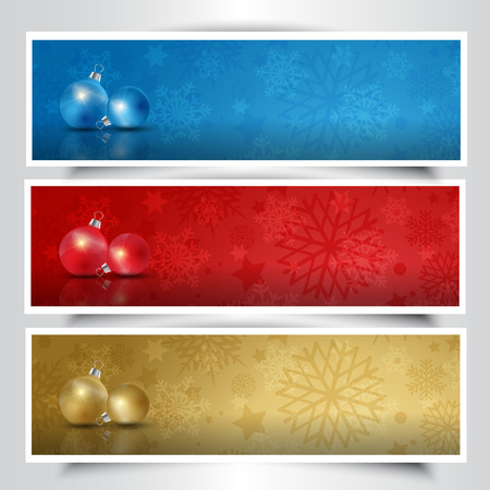 colection: Colection of Christmas bauble headers in different colours Stock Photo