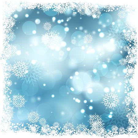 snowflake border: Christmas background with snowflake border