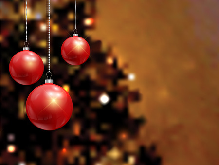 defocussed: Christmas baubles on a defocussed tree background Stock Photo
