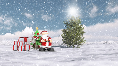 christmas scene: Christmas winter scene with Santa and his reindeer Stock Photo