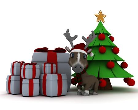 3d render of a christmas reindeer in santa hat photo