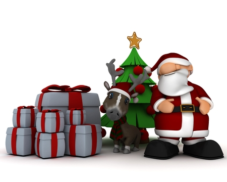 3d render of a santa and reindeer by christmas tree photo