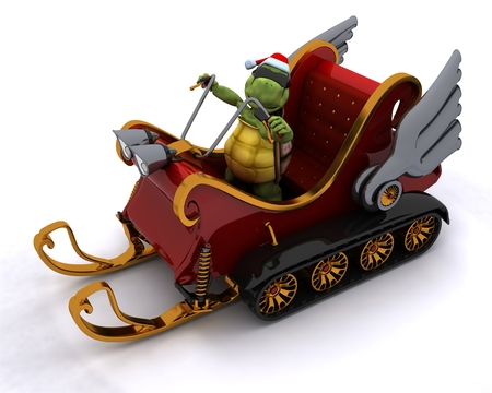 3D render of a tortoise in a snowmobile sleigh photo