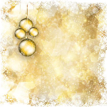 Christmas background with gold stars design and hanging baubles