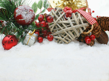 nestled: Christmas background with shabby chic heart decoration nestled in snow