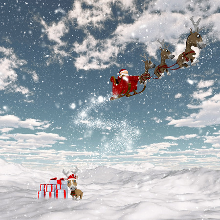 santa sleigh: 3D render of a snowy landscape with Santa and his reindeers