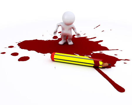 businness: 3D render of a cartoonist morph man with pencil and blood