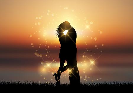 parejas romanticas: Silueta de una pareja besándose contra un cielo puesta del sol