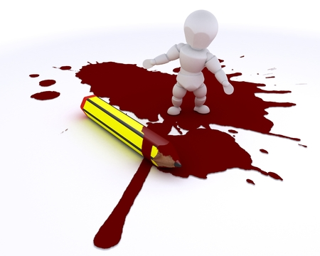 businness: 3D render of a cartoonist man with pencil and blood