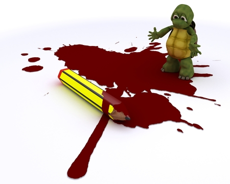 3D render of a cartoonist tortoise with pencil and blood photo