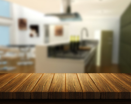 kitchen table top: 3D render of a wooden table with a kitchen in the background Stock Photo