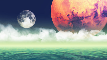 fictional: Fictional 3D background of planets over the sea
