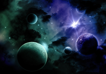 Space background with nebula and fictional planets