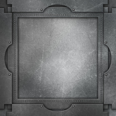 scratches: Metallic background with scratches and stains and rivets Stock Photo