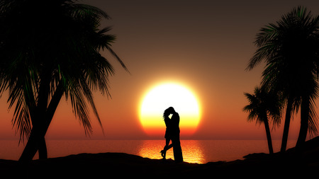 honeymoon couple: Couple against sunset sea with palm trees