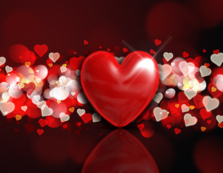 Valentines Day background with a 3d heart on a red and gold bokeh lights design photo