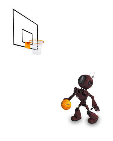 layup: 3D Render of an Android Basketball Player