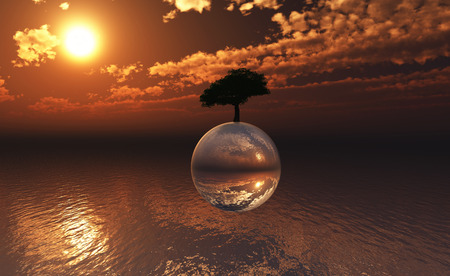 se: 3D landscape with tree on a glass sphere floating above the se Stock Photo