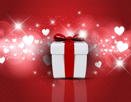 Valentines Day background with gift box on hearts design photo
