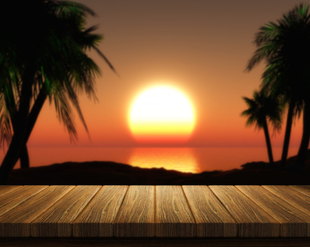 tropical sunset: 3D render of a wooden table looking out to a tropical sunset Stock Photo