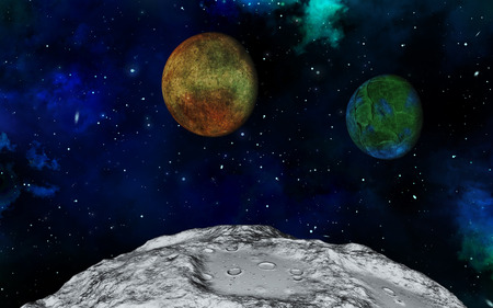 fictional: 3D space scene with fictional moon surface and planets Stock Photo