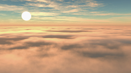 sunset sky: 3D render of a sunset sky above the clouds