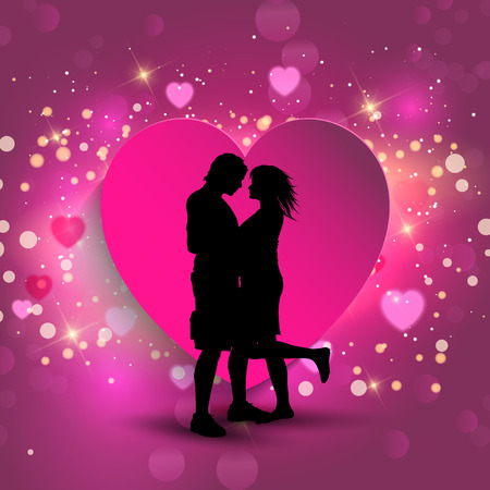 love kiss: Silhouette of a couple kissing on a heart background Stock Photo