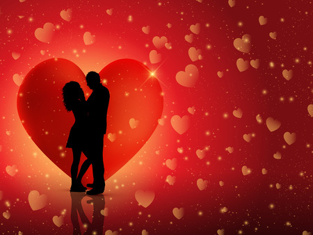 Silhouette of a couple on a Valentine's Heart background