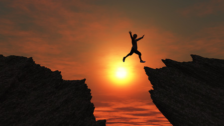 male figure: 3D render of a male figure jumping from one mountain to another Stock Photo