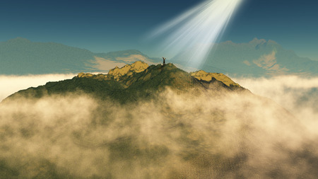 him: 3D render of a male figure stood on top of a mountain with sun rays on him