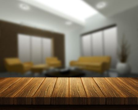 bar top: 3D render of a wooden table with a room interior in the background Stock Photo