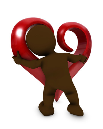 morph: 3D Render of a Morph Man with heart