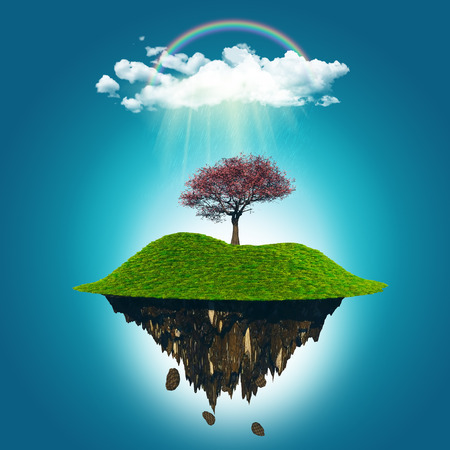 floating island: 3D render of a floating island with a cherry tree under a rainbow and rain cloud Stock Photo
