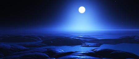 alien landscape: 3D rendono di un paesaggio di fantasia alieno con la luna di notte