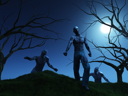 over the hill: 3D render of zombies coming over a hill at night