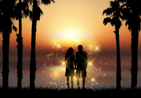 couple holding hands: Silhouette of a couple holding hands against a sunset sky Stock Photo