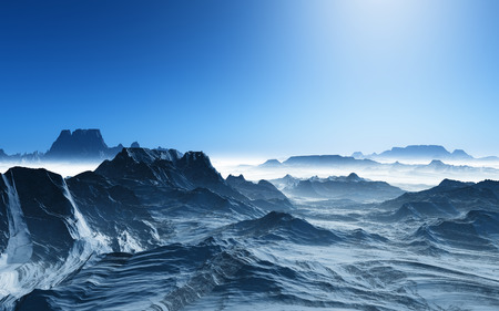 surreal landscape: 3D render of a surreal landscape with snowy mountains